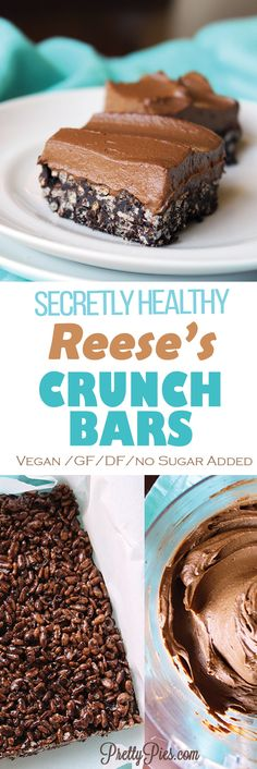 "So much delicious peanut butter chocolate flavor in these 4 ingredient crunch bars with thick (secretly healthy) ""Reese's"" frosting! Real food with ZERO added sugar. #cleaneating #vegan #glutenfree"