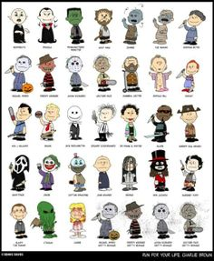 Charlie Brown characters as horror villains. Love this :)
