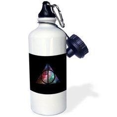 3dRose Galaxy Deathly Hallows, Sports Water Bottle, 21oz