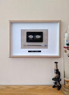 Age Test - Box Frame - Vintage Audio Cassette Tape and Pen Art. Gift for Dad for Birthday or Fathers Day present. Remember the past. Box Frame Art, Box Frames, Fathers Day Presents, Gifts For Dad, Cassette Tape Crafts, Tape Wall Art, How To Make Box, Retirement Gifts, Diy Box