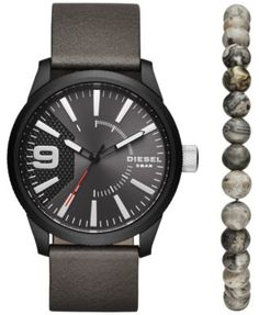 Diesel Men s Rasp Gray Leather Strap Watch   Beaded Bracelet Set 46x53mm  DZ1776 Jewelry   Watches - Watches - Macy s 37737d8ce65