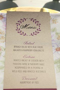 wedding menu http://www.weddingchicks.com/2013/10/01/plum-and-gold-wedding/