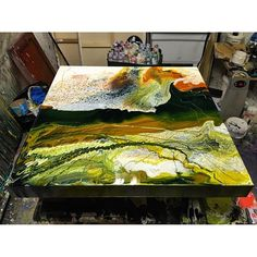 Last nights project drying nicely.... #ldnont #unklecollective #wave #volcano #abstractart #modernart #Gregbenz #studio #contemporary #painting