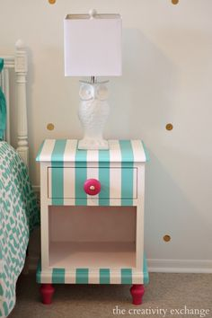 Creative Ways to Paint Children's Furniture. These are the colors of my girls room...I just might have to paint their side table like this! ADORABLE!!