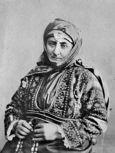 Aged woman with string of beads. Armenia. The Armenians. Photographer F.Orden. 1897.