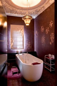 A luxury Riad bathroom. #Moroccan #Luxury #Lighting #Decor #Lantern.
