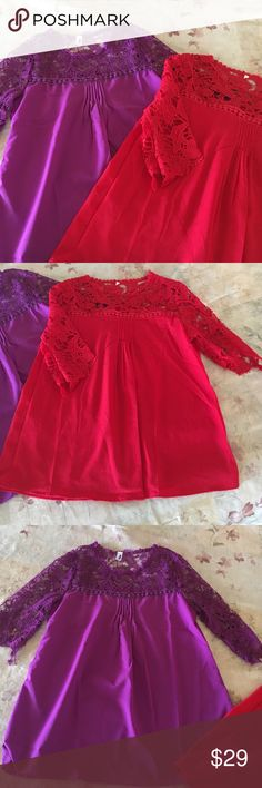 2 lace top blouses 2 lace top boutique blouses brand new without tags. Both have pleats in front...1/2 sleeves. Very cute and great fall colors! Sizes say XL but they are NOT. They would fit S-M. Boutique Tops Blouses