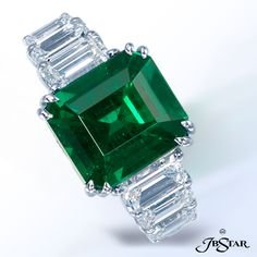 JB STAR Platinum diamond ring featuring a stunning ct GIA certified radiant-cut Emerald, complemented by 6 emerald cut diamonds enhancing the band. Radiant Cut Diamond, Platinum Diamond Rings, Green Diamond, Emerald Cut Diamonds, Colored Diamonds, Emerald Jewelry, Gems Jewelry, Gemstone Jewelry, Emerald Rings