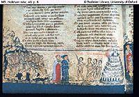 inf.4. p 6. 130 Nadat ik de oogleden een weinig had opgeslagen zag ik den Meester (Aristoteles) van degenen die weten, zitten tusschen eene school en volgelingenstoet van filosofen, 133 Allen bewonderden hem, allen deden hem eer. Daar zag ik èn Socrates èn Plato, die vóór de anderen dichter bij hem stonden; 136 Democritus, die de wereld op het toeval zet, Diogenes, Anaxagoras en Thales, Empedo des, Heraclitus en Zeno. ; Het kasteel met de zeven muren (7 deugden, of 7 takken filosofie)