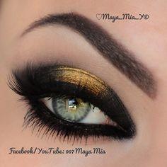 Raccoon eye      @makeupgeektv Liquid gold pigment and Urban Decay Blackout eyeshadow   Lashes @flutterlashesinc   Brows @anastasiabeverlyhills   Subscribe to my YouTube Channel 007 Maya Mia for video tutorials - @maya_mia_y- #webstagram