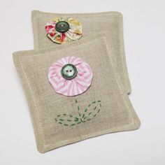 Daisy Suffolk Puff Lavender Sachets - Set of Two