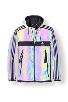 Adidas Windbreaker Zapatos Dog Posts on Mode Outfits, Sport Outfits, Casual Outfits, New York Fashion, Teen Fashion, Holographic Jacket, Holographic Adidas, Holographic Fashion, Looks Adidas