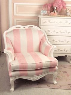 Pink striped chair