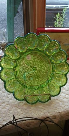 Green Carnival Egg Service Plate Wine Decanter, Carnival, Egg, Porcelain, Plates, Crystals, Chic, Green, Mardi Gras