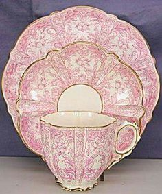 Aynsley Esthetic Pink Print trio ( Aynsley) at Hope's Time & Again Antique China, Vintage China, Vintage Tea, Vintage Dishes, Rare Antique, Teapots And Cups, Teacups, China Tea Cups, My Cup Of Tea