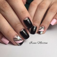 Black and pink nails, Geometric nails, Manicure Moon nails Nails trends Party nails, Ring finger nails, Spring summer nails 2017 Pink Nail Art, Cool Nail Art, Pink Nails, Glitter Nails, Nail Manicure, Gel Nails, Manicure 2017, Cute Nails, Pretty Nails