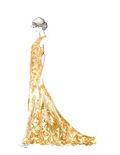 Print from original watercolor and pen fashion illustration by Jessica Durrant titled, Mad About McQueen via Etsy
