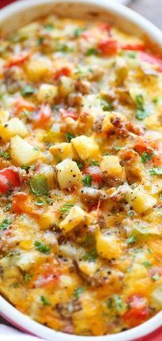 Cheesy Breakfast Casserole - Damn Delicious