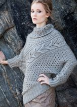 """Vogue Knitting Fall 2013 """"Grand Prize Winner"""" Zealana knitting contest. # 12. Assymetrical pullover, showecases multiple stitch patterns that flank a diagonal cable. Uses Zealan's """"Kauri Worsted Weight""""."""