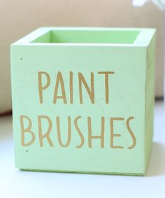 Mint & Gold 'Paint Brushes' Planter Box