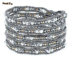 pearl mix crystal silver leather wrap bracelet woman