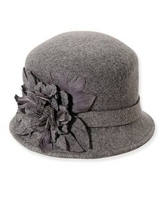 e061c09a663 ADORA Gray Floral Feather Chatham Wool Cloche