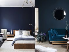 Bedroom and living room with dark blue walls, trend painting winter 2018 by Salon Blue, Dark Blue Walls, Bathroom Trends, Luxurious Bedrooms, Sweet Home, Living Room, Luxury, Furniture, Color