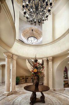 Find Mediterranean Homes and Mediterranean Decor Online Best Interior, Luxury Interior, Interior Architecture, Amazing Architecture, Foyer Decorating, Interior Decorating, Grand Foyer, Grand Entrance, Entry Way Design