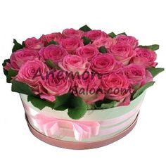 Rose arrangement in a gift box.