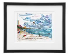 TWO BY THE SEA - RENEE LEONE | watercolor painting, beach art | UncommonGoods