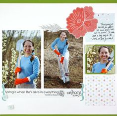 Spring Additions Scrapbook Layout Page Idea