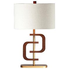 Coco 1 Ring Chestnut Wood Gold Table Lamp