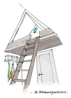 Een slaapkamer op zolder?  Lees hoe je inventief en ruimtebesparend plek creëert voor een lekker bed => http://deverbouwingsarchitect.wordpress.com/2014/09/23/4x-inventief-slapen-op-zolder/