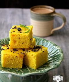 Instant Dhokla is a soft, spongy and delicious Indian teatime snack. Learn how to make dhokla in microwave in just 10 minutes. Asian Pear Recipes, Healthy Indian Recipes, Indian Snacks, Indian Desserts, Easy Appetizer Recipes, Snack Recipes, Easy Recipes, Breakfast Recipes, Dinner Recipes