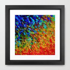 COLLISION COURSE - Bold Rainbow Splash Bricks Urban Jungle Ocean Waves Nature City Acrylic Painting Framed Art Print by EbiEmporium - $37.00