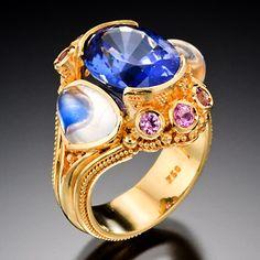 Blue Fantasy by Kent Raible / Tanzanite, Moonstone, Pink Sapphires, 18K Gold / Primavera Gallery - Downtown