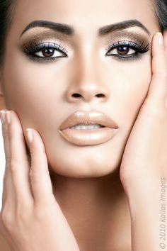 = parts gold metallic eyes and nude nude lips
