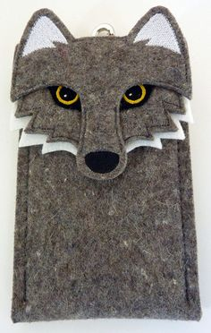 Samsung Galaxy Note 2 case - Wolf in gray felt