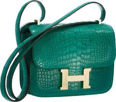 Hermes 18cm Matte Malachite Alligator Double Gusset Constance Bagwith Permabrass Hardware.