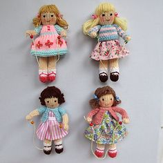 KNITTING PATTERN - Four cute 15cm (6in) dolls with their skipping ropes. Maggie, Mary, Milly and May are made from the same basic pattern but their pretty clothes and hair styles give them a very different appearance. Easy to follow knitting and sewing patterns that will utilise your odds and ends of yarn and fabric.