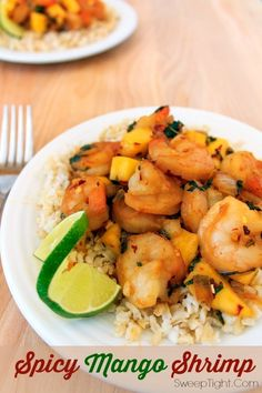 This Spicy Mango Shrimp is the perfect quick and easy meal to make using all the fresh fruit and veggies that are ripe and in season! Sweet mango cools the spicy kick of the shrimp Mango Shrimp Recipe, Cooked Shrimp Recipes, Fish Recipes, Seafood Recipes, Cooking Recipes, Healthy Recipes, Spicy Shrimp, Healthy Meals, Seafood Appetizers