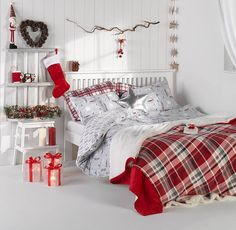 Our dream Christmas bedroom!  Bedlinen from 18 Throws from 12/$14 Star Cushion 6/$7 #PrimarkHome #BringPrimarkHome #Christmas by primark