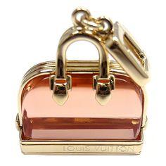 | LOUIS VUITTON Alma Pink Glass Yellow Gold Pendant Charm
