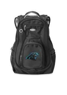 Ready to cheer on our Carolina Panthers! This backpack holds all the essential gear for the game.