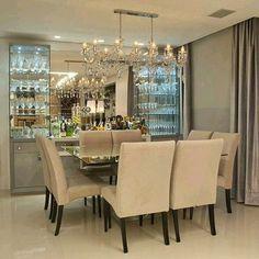 Olha o charme que ficou esta cristaleira na sala de jantar! Amei! ♡♡ #arquitetura #arquitectura ...