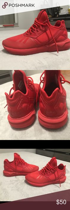 Red Adidas Red Adidas sneakers tubular adidas Shoes Athletic Shoes