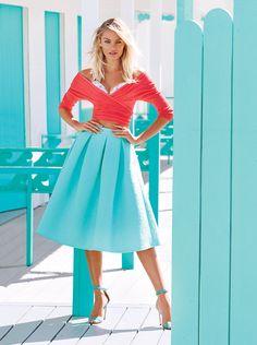 She likes Summer Season:   coral tiffany blue | summer color combo