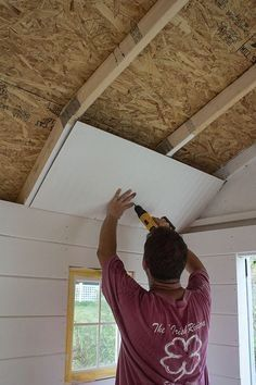 Amazing Shed Plans - Paneling a Shed Ceiling Now You Can Build ANY Shed In A Weekend Even If You've Zero Woodworking Experience! Start building amazing sheds the easier way with a collection of shed plans! Wood Shed Plans, Storage Shed Plans, Diy Storage, Outdoor Storage, Small Storage, Craft Shed, Diy Shed, Shed Office, Tyni House