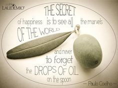 "A #quote from ""The Alchemist"" of Paolo Coelho. #Happiness is simple. #Laudemio #oil #oliveoil"