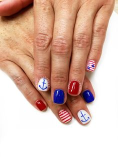 Nautical nails. Red white and blue nails. Fourth of July nails #PreciousPhan